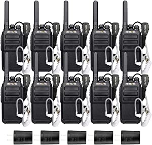 Case of 10,Retevis RT28 2 Way Radios Walkie Talkies Long Range with Earpieces 16 CH Emergency VOX Police Rechargeable Two-Way Radio Adults