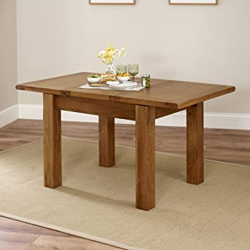 Rustic Oak Small 4 6 Seater Extending Dining Table: Amazon.co.uk: Kitchen U0026  Home
