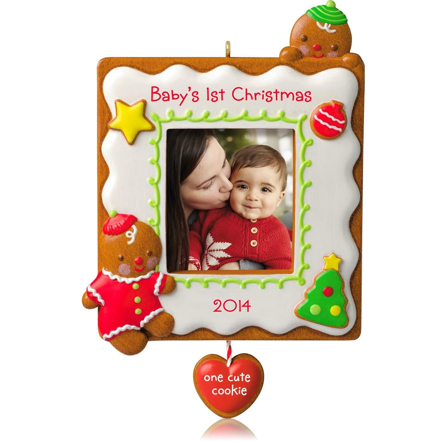 2014 Hallmark BABY/'S FIRST BIRTHDAY Photo Frame Ornament BIRTHDAY CAKE I am One