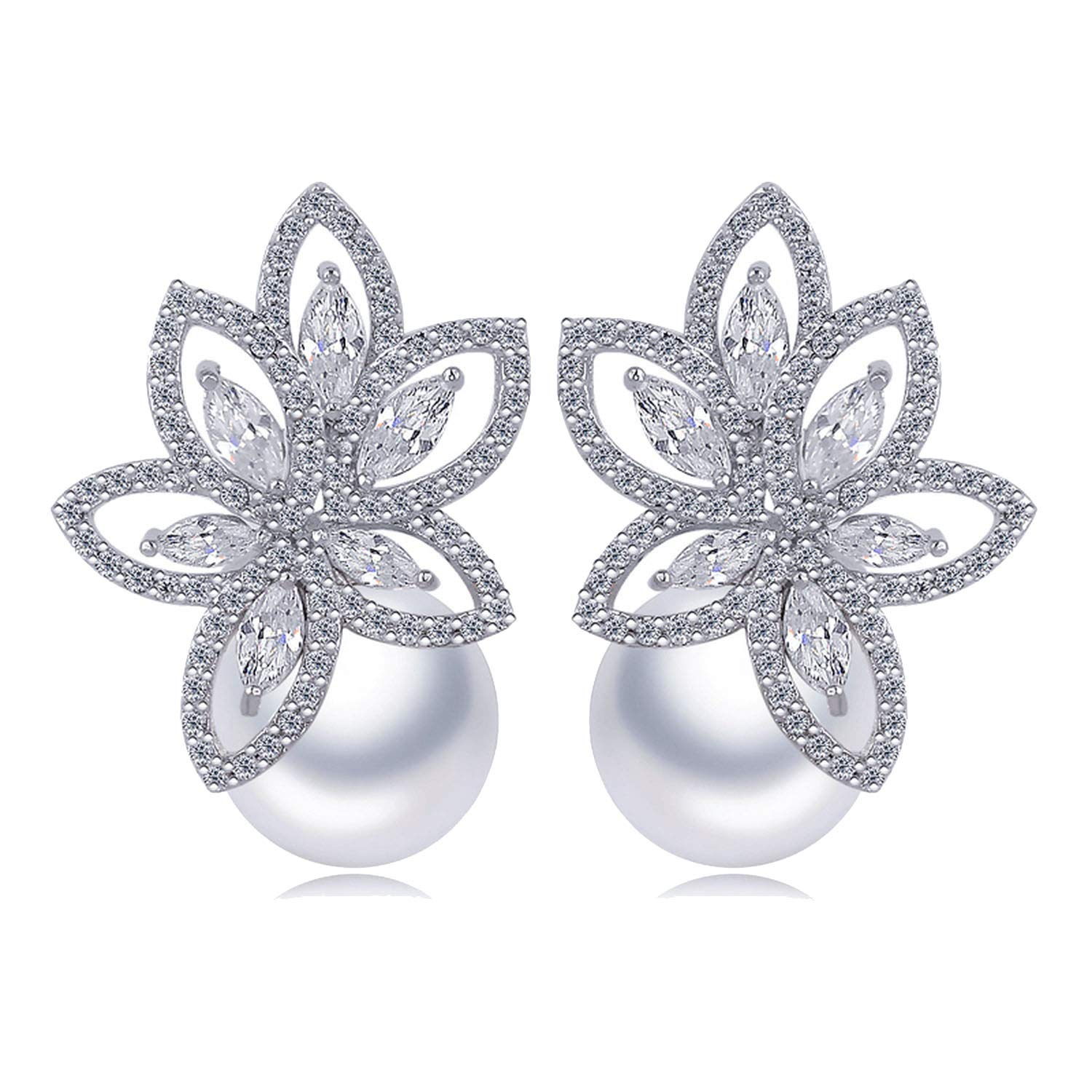 White Gold-Color Bride Stud Earrings for Women Wedding Jewelry