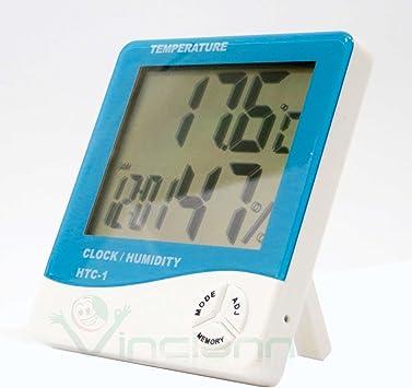 Termómetro Digital Higrómetro Humedad Casa ambiente Reloj Calendario HTC-1 az: Amazon.es: Electrónica