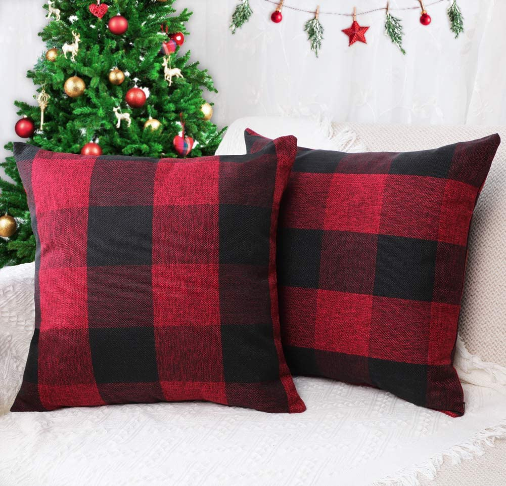 4TH Emotion Set of 2 Farmhouse Buffalo Check Plaid Throw Pillow Covers Cushion Case Cotton Linen for Christmas Home Decor Burgundy and Black, 16 x 16 Inches