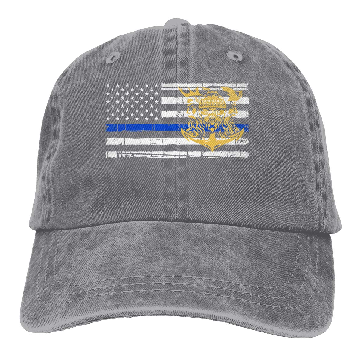 1c2d0fd29a1 Original Navy Honorable Shellback USN Veteran Thin Blue Line Flag Denim Hats  Washed Retro Baseball Cap Dad Hat at Amazon Men s Clothing store
