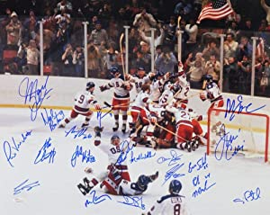 1980 Miracle On Ice Team USA Autographed 16x20 Photo w/ 19 Signatures- JSA W Auth