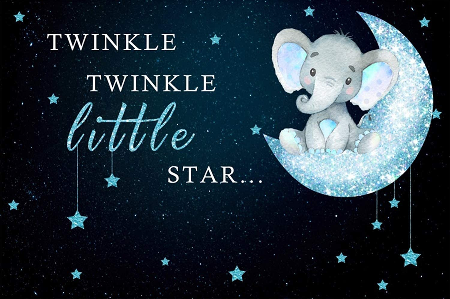 10x8ft Cartoon Twinkle Little Star Backdrop Vinyl Cute Calf Elephant On The Glitter Moon Shiny Stars Photography Background Child Kids Baby Birthday Party Banner Cake Smash Wallpaper