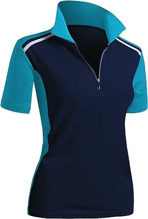 CLOVERY Women's Active Wear Short Sleeve Zipup Polo Shirt