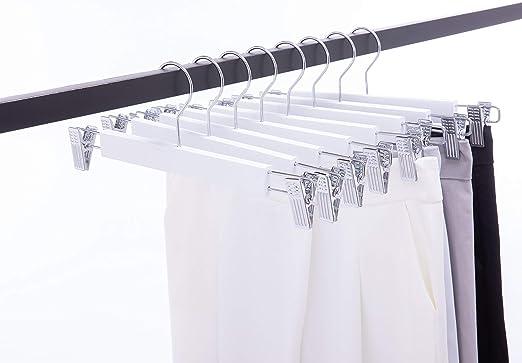 Cocomaya 36 cm Percha de falda de madera maciza de lujo blanca ...