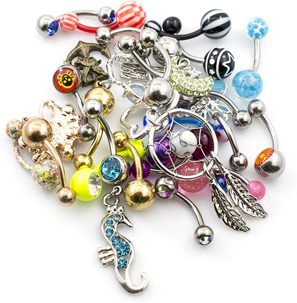 Pack of 12 Belly Button Rings Randomly Picked 14g