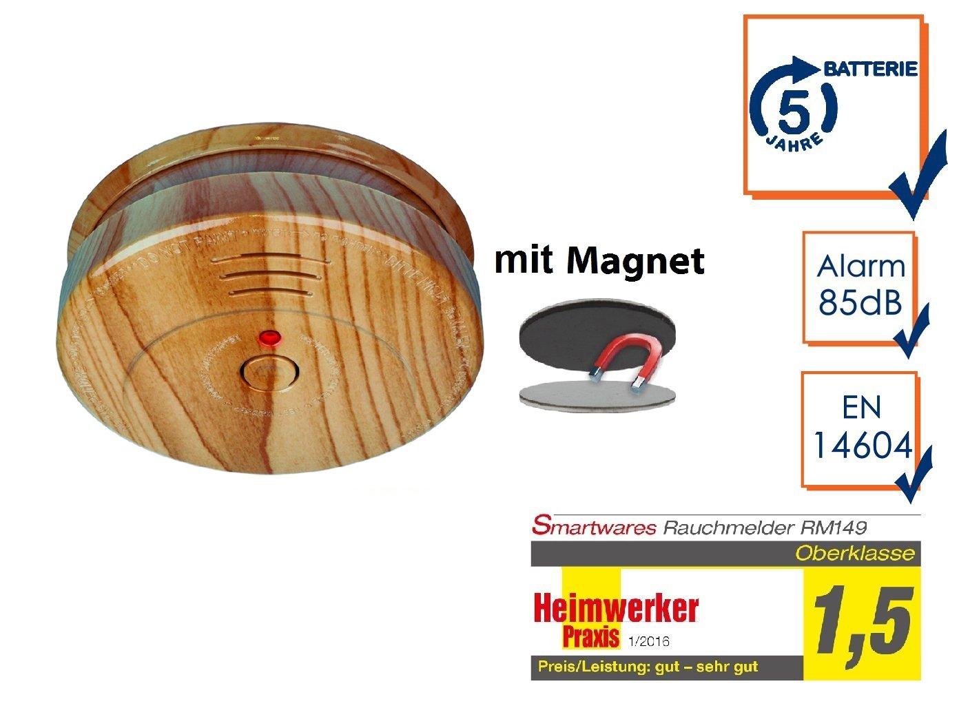 Feuermelder Feueralarm 6er SET Rauchmelder Holzoptik mit EASY Magnethalterung