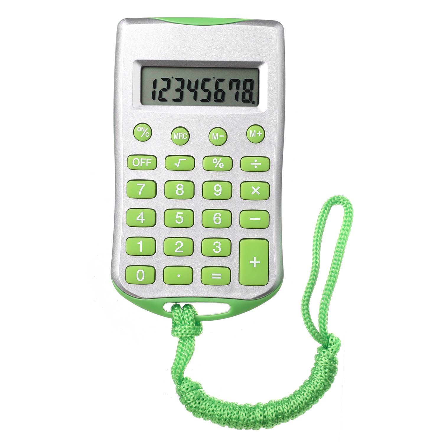 Mini Standard Function Handheld Calculator 8-digit Display with Lanyard - Green Bear Motion BMCALLANGRN