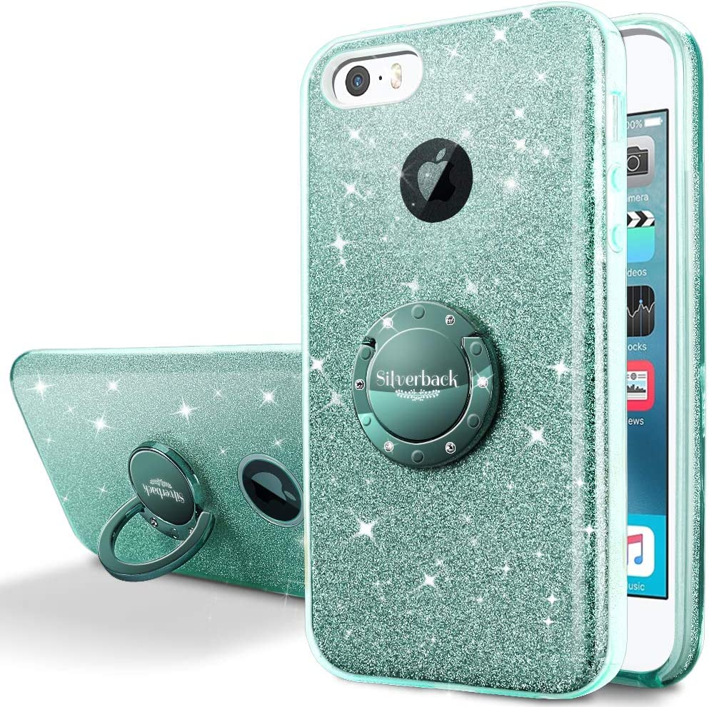 Silverback iPhone SE Case, iPhone 5S / 5 Case, Girls Bling Glitter Sparkle Cute Case with 360 Rotating Ring Stand, Soft TPU Outer Cover + Hard PC Inner Shell Skin for Apple iPhone SE 5S 5 -Green