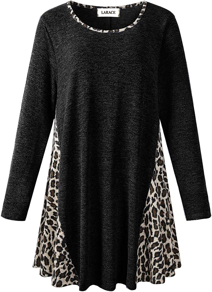 LARACE Leopard Print Tops for Women Plus Color Block Sweatshirt Pullover Sweaters Long Sleeve Tunic Loose Shirts