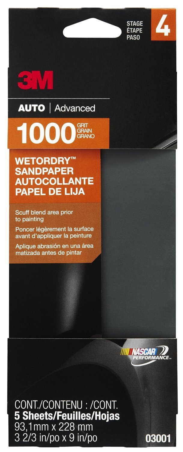 3M 03001 Imperial Wetordry 3-2/3'' x 9'' 1000 Grit Automotive Sandpaper (Pack of 40)