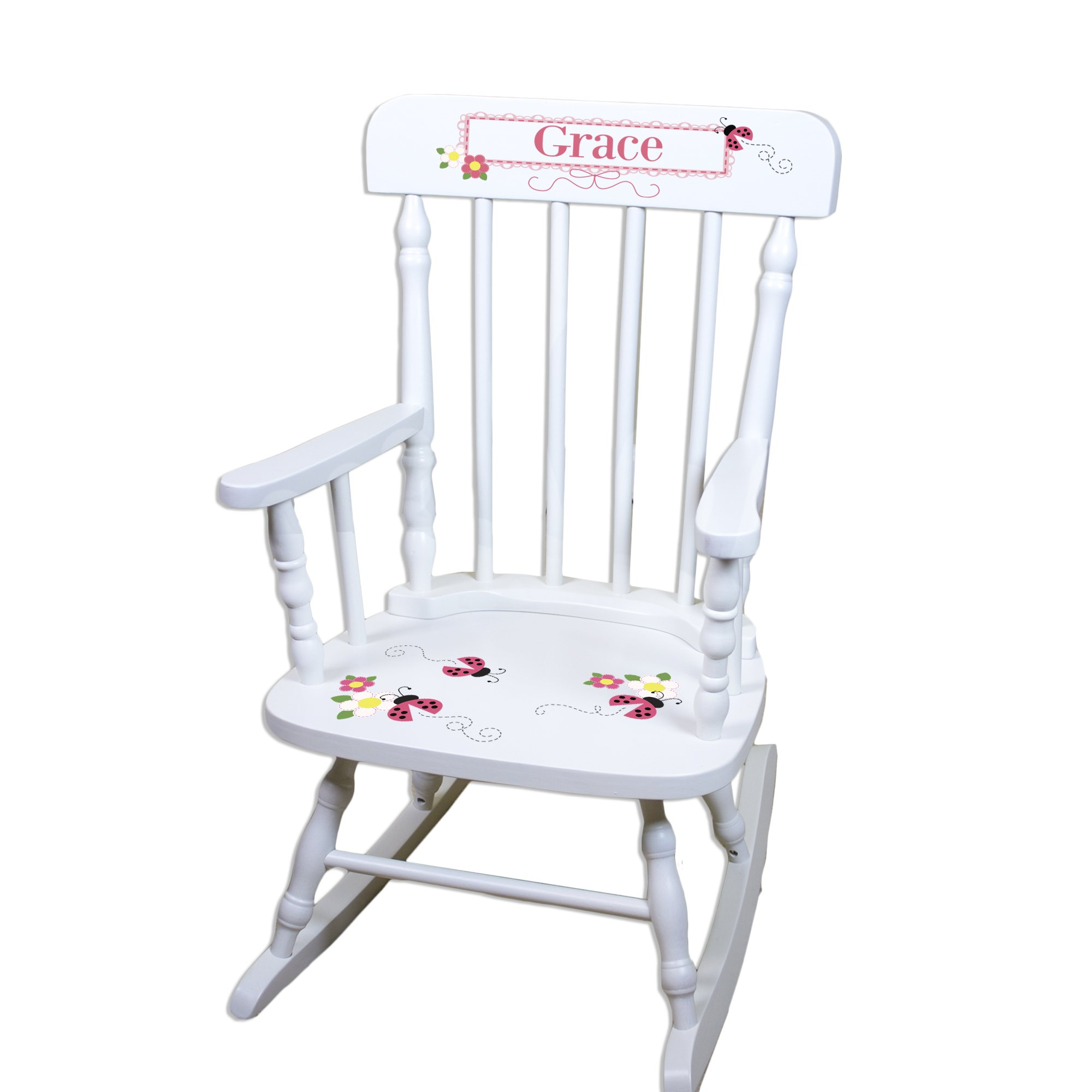 Children's Personalized White Ladybug Pink Rocking Chair