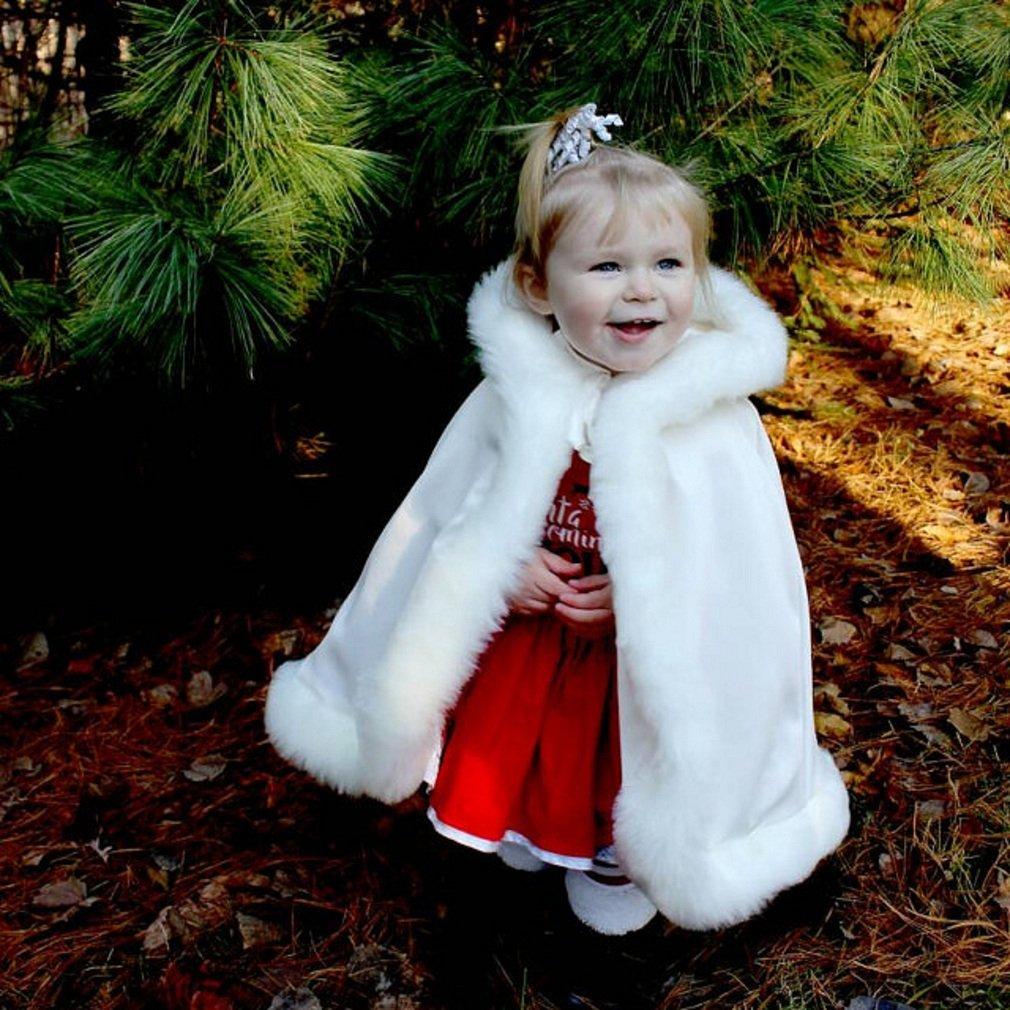 BEAUTELICATE Flower Girl Cape Winter Wedding Cloak for Infant Junior Bridesmaid Hooded Reversible Ivory 44 by BEAUTELICATE (Image #3)