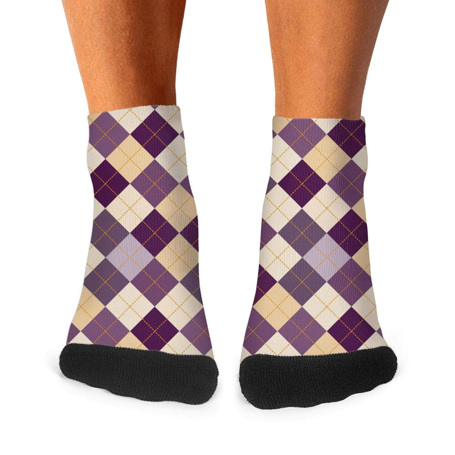 Mens athletic low cut Ankle sock colorful checkerboard Checkered Short Fit Sock