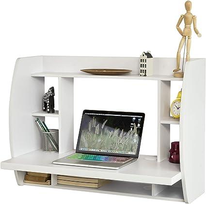 SoBuy® fwt18-w, color blanco pared mesa escritorio con estantes y ...