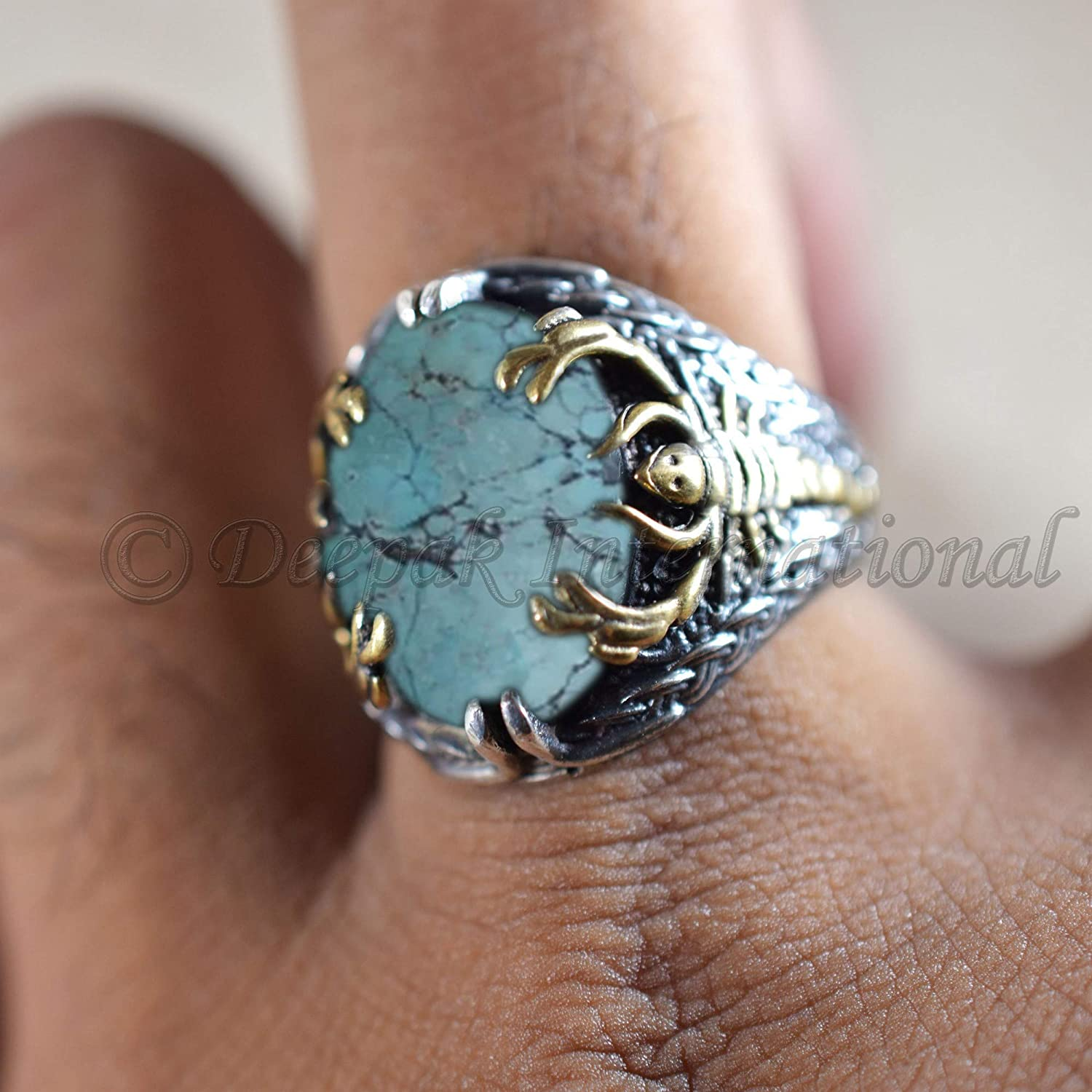 mans heavy silver ring attractive jewelry scorpion design mans ring new year ring mans party wear ring 925 sterling silver ring aaa tibetan turquoise gemstone ring handicrafted silver ring