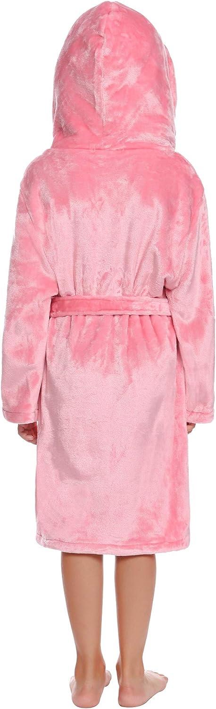 Cosy Hoodie Dressing Gown Nightgown Housecoat for Girls Boys Aibrou Kids Fleece Bathrobe