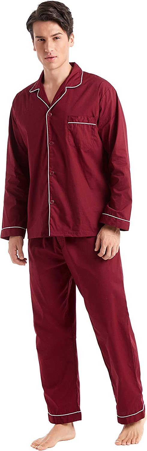 TONY AND CANDICE Men's Cotton Pajama Set, Long Sleeve Button-Down Woven Sleepwear