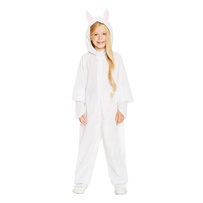 31af15341 Amazon.com: White Rabbit Pajama Costume - Halloween Kids Hooded Onesie with  Bunny Ears, L: Clothing