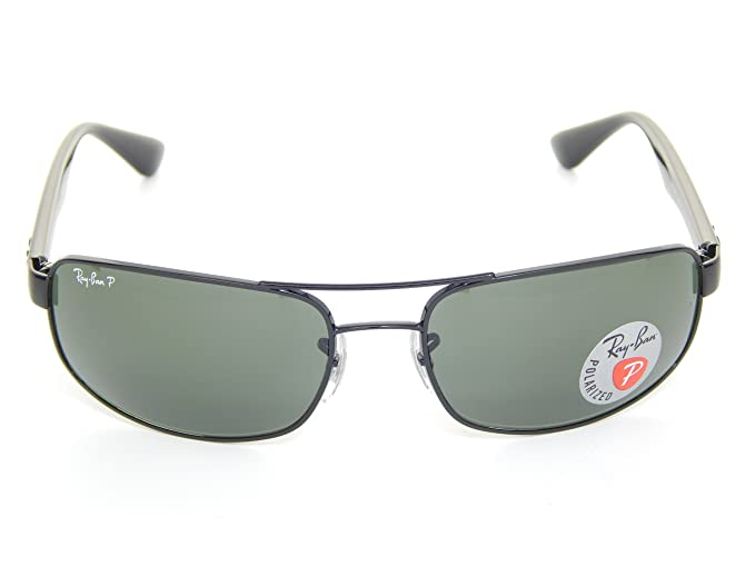 678ec5315a Ray Ban RB3445 002 58 Black Crystal Green Polarized 61mm Sunglasses  Amazon. de  Bekleidung