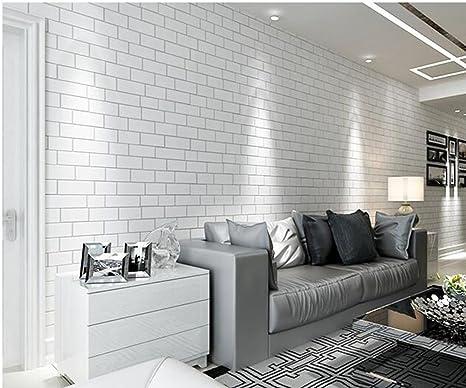 Non Woven Imitation Brick Wall Paper White Brick Clothing Shop
