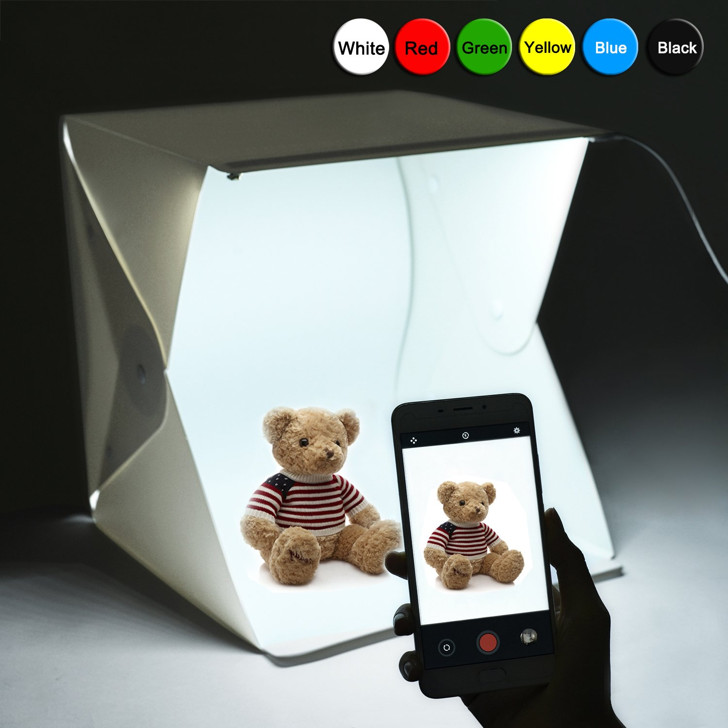 Donwell Portable Photo Studio Tent Light Box Folding Photography Shooting Kit with Adjustable LED Lights and 6 Colors Background New 2018 (Size: 9.8'' x 9.5'' x 9'') by DONWELL (Image #9)