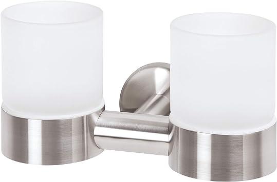 bremermann/® Porte-verre double avec gobelet en inox gamme pour salle de bains PIAZZA