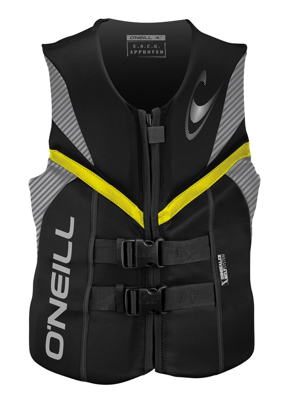 O'Neill mens Reactor USCG life vest 3XL Black/smoke/yellow (4720) by O'Neill Wetsuits