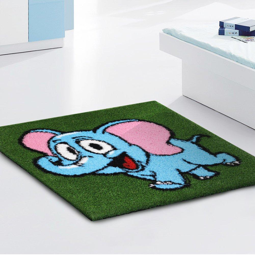 Pet Grow Elephant Artificial Grass Area Rug Carpet, Room Mat Cartoon Kindergarten Turf, Thick & No Fade UV Resistant, Pet Pad Fake Grass Carft Indoor Outdoor Home Decorations,39X39 Inch