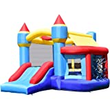 Costzon Inflatable Bounce House, Slide Bouncer Kids Jump Castle w/ Basketball, 50 PCS Balls Without Blower