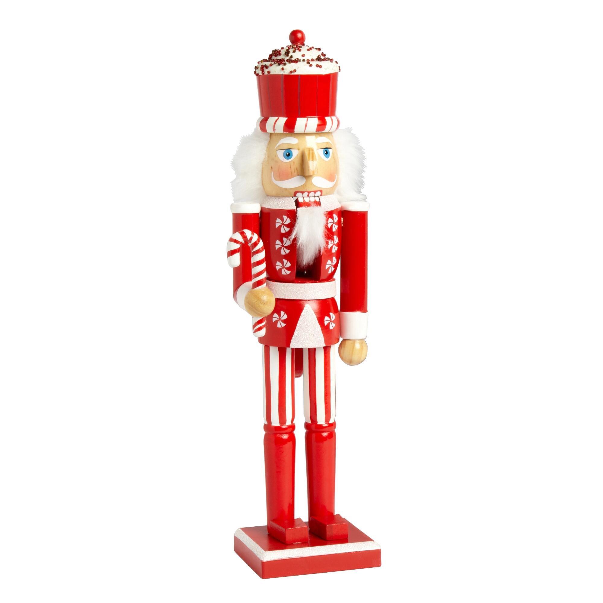 Nantucket Home Wooden Christmas Nutcracker Decor, 15-Inch (Peppermint Cupcake Soldier)