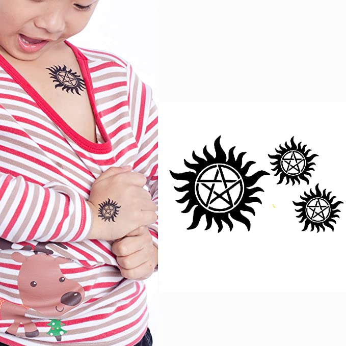 Yeeech Temporary Tattoo Sticker Paper Supernatural Circle Pentagram