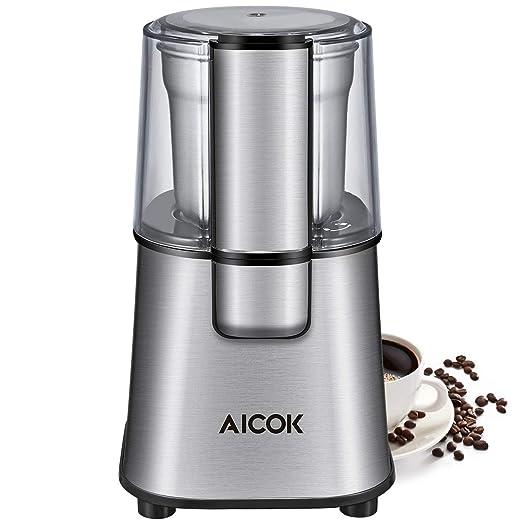 Aicok, CG9100, Molinillo de Café Eléctrico, Molinillo de Especias y Café Eléctrico con Cuchillas de Acero Inoxidable y Taza de Polvo de Café Extraíble ...