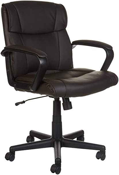 Amazoncom Amazonbasics Classic Leather Padded Mid Back Office