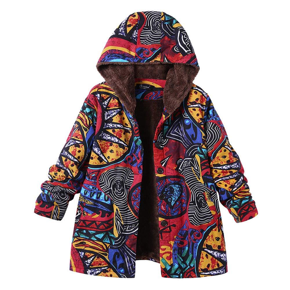 Oversize Coats Women, Vanvler [Ladies Winter Warm Jackets] Floral Print Hooded Pockets Vintage Outwear Healthy Sport Lady-A10