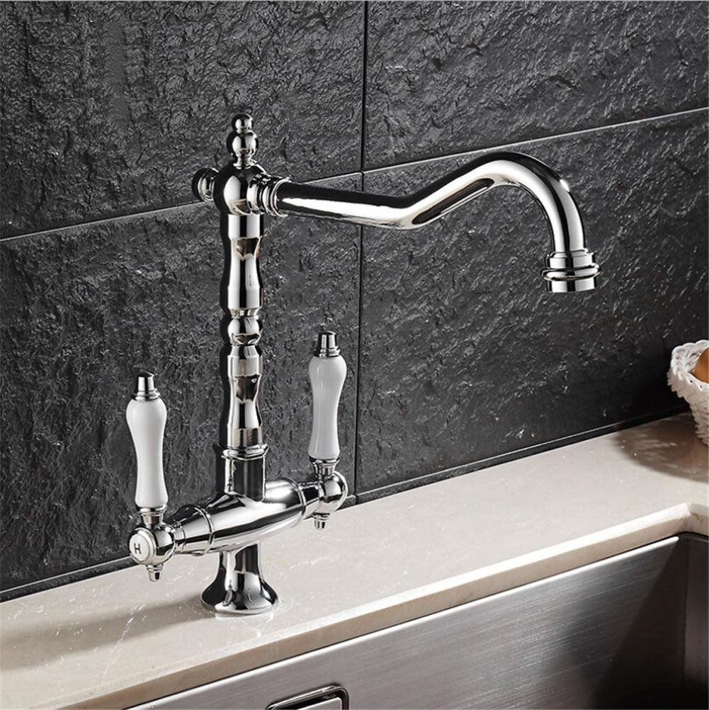 HomJo Kitchen Faucet Brass Ceramic Chrome Dual Handle Single Hole Tap Rotary Sink Mixer Tap