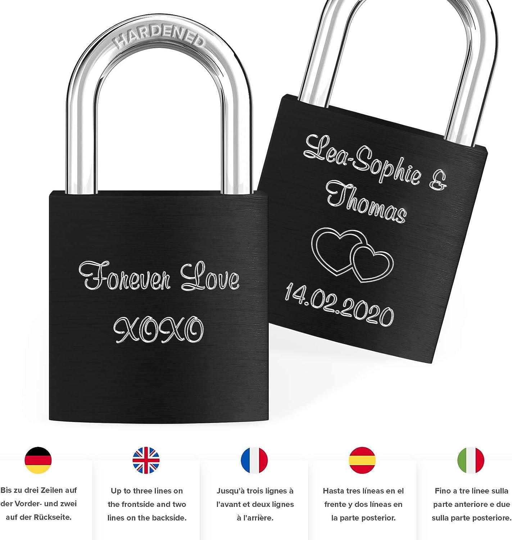 LIEBESSCHLOSS-FACTORY Candado de amor Morado grabado /¡Crea tu propio candado grabado ahora! Caja de regalo gratis y mucho mas
