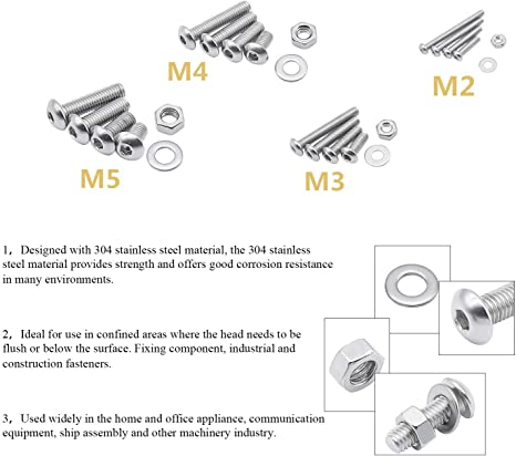 tuercas y arandelas M2 M3 M4 M5 con caja plana y llave inglesa Juego de tornillos de acero inoxidable BULYZER 304