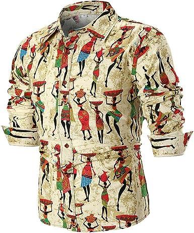 ALIKEEY La Personalidad De Hombres Camiseta De Manga Larga Slim Print Top Plaid Grande Personalidad Casual Los Hombres Verano Blusa Camisa Impresa.: Amazon.es: Ropa y accesorios