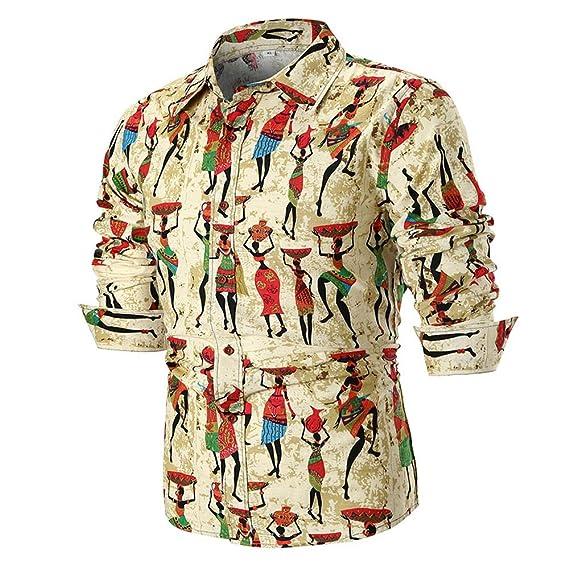 ... Hombres Camiseta De Manga Larga Slim Print Top Plaid Grande  Personalidad Casual Los Hombres Verano Blusa Camisa Impresa.  Amazon.es   Ropa y accesorios 605d04b618d4