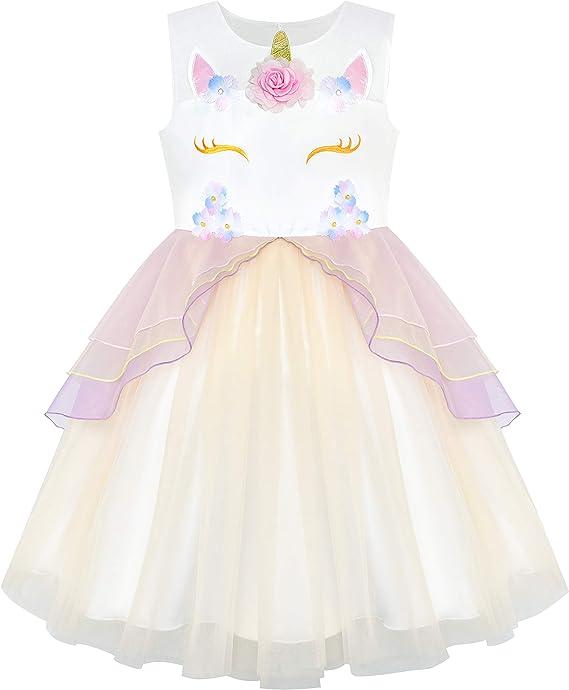 Sunny Fashion Vestido para niña Azul Unicornio Disfraz Cosplay ...