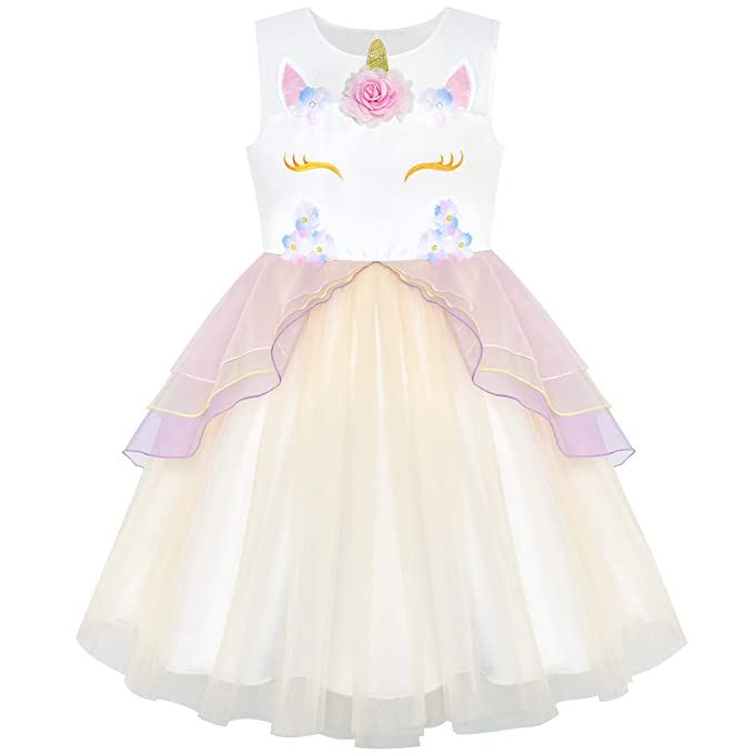 Sunny Fashion Vestido para niña champán Unicornio Pageant Cosplay Princesa Pageant Fiesta 4 años