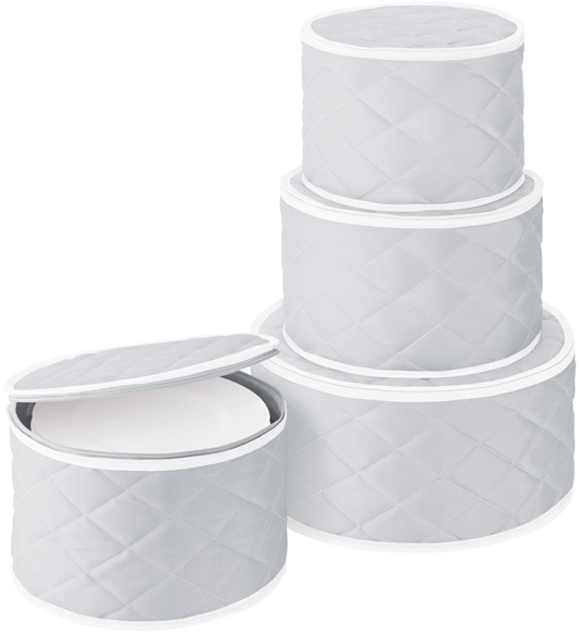 Grey Quilted Dinnerware Storage Cases | The Container Store