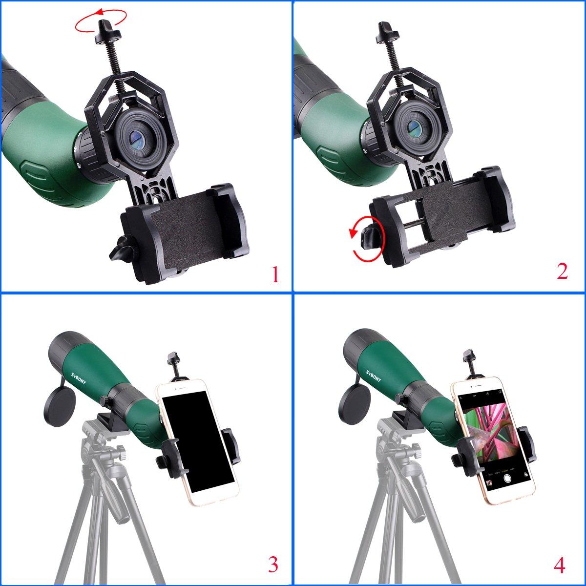 Svbony SV18 Telescopio Terrestre 20-60x60mm Impermeable Prisma BK7 Catalejo con Adaptador Universal para Tel/éfono Inteligente Ideal para Viajar y Obser