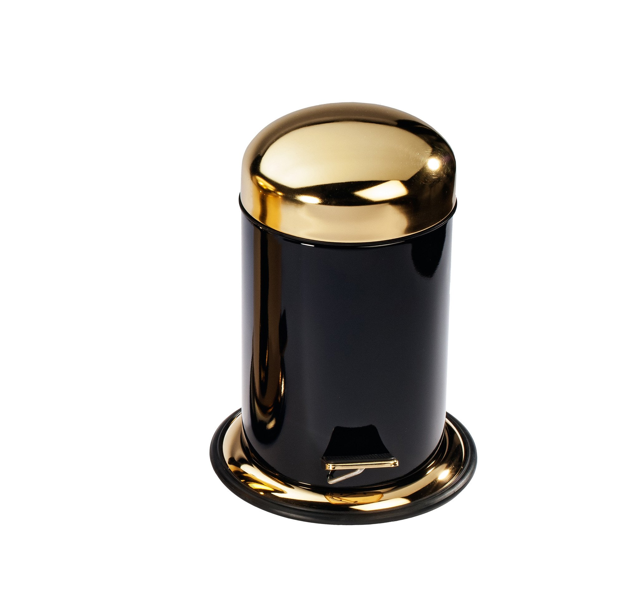 DWBA Round Step Trash Can, Stainless Steel Wastebasket W/ Lid Cover (Black-Gold)