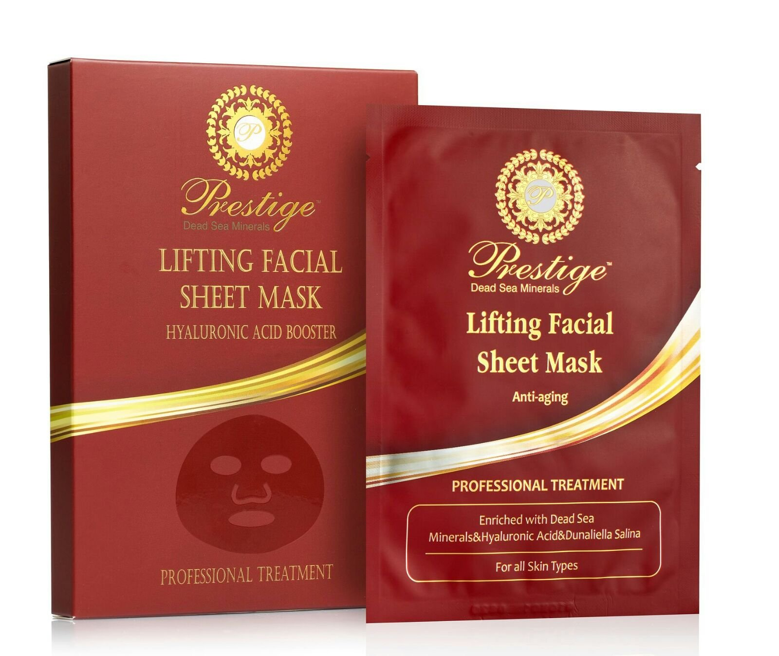 Face Mask Sheet Facial Slimming Hyaluronic Acid Booster Dead Sea Minerals Lifting Anti-Aging Professional Treatment Made in Israel New Formula Prestige