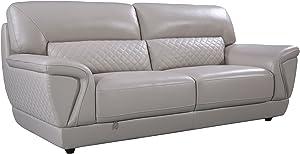 "American Eagle Furniture Bell Mid-Century Modern Italian Leather Living Room Sofa, 85"", Light Gray"