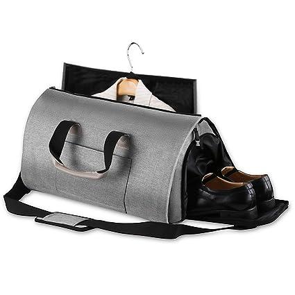 Pro Spirit Bolsa Portatrajes Funda de Viaje para Traje Carry-On Garment Bag con Compartimentos para Zapatos y Correa Ajustable para Hombro (Gris)